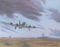 Painting and Limited Edition Print. B-17 coming in to land at Lavenham, after a raid deep inside hostile territory.