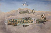 Pastel painting. Three MC202s in desert camouflage.