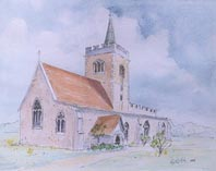 Pen and Wash Watercolour Painting of Whittlesford Church.
